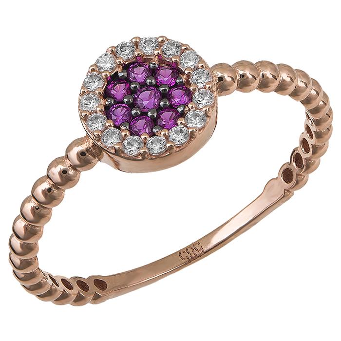 Δαχτυλίδι ροζ gold Κ14 με ροζ πέτρες 029520 029520 Χρυσός 14 Καράτια