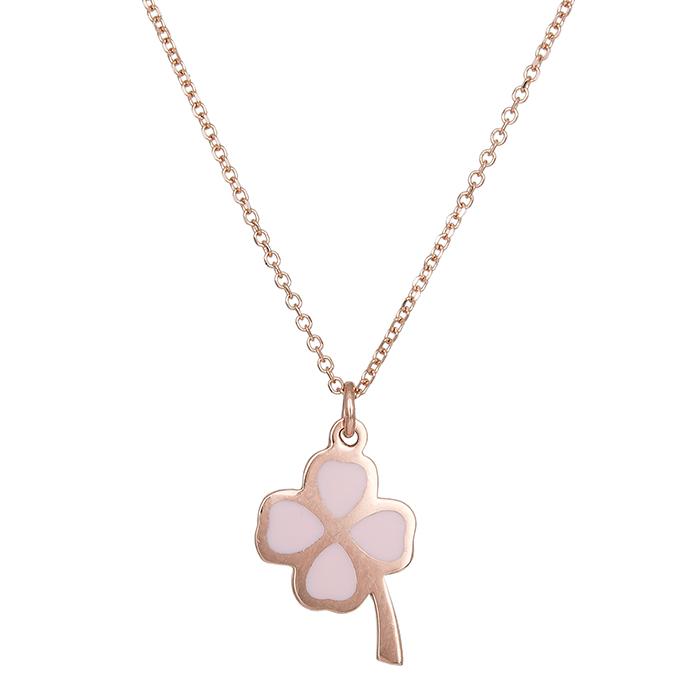 Κολιέ ροζ gold K14 με ροζ τριφύλλι 029589 029589 Χρυσός 14 Καράτια
