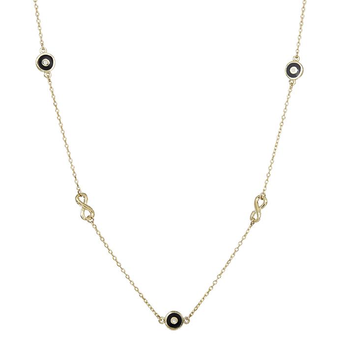 Γυναικείο κολιέ Κ9 με ματάκια και το άπειρο 029595 029595 Χρυσός 9 Καράτια