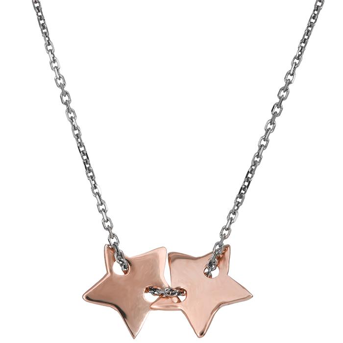 Γυναικείο κολιέ Κ14 δίχρωμο με αστεράκια 029603 029603 Χρυσός 14 Καράτια