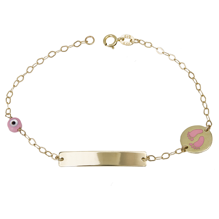 Παιδικό βραχιόλι- ταυτότητα Κ14 με ροζ πατουσάκια 029651 029651 Χρυσός 14 Καράτια
