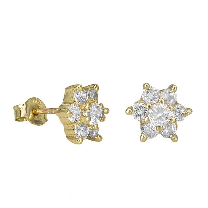 Χρυσά σκουλαρίκια Κ9 ροζέτες με ζιργκόν 029665 029665 Χρυσός 9 Καράτια