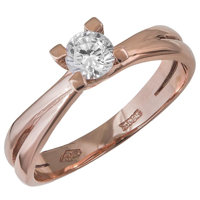 Μονόπετρο δαχτυλίδι Κ14 ροζ gold με ζιργκόν 029678 029678 Χρυσός 14 Καράτια