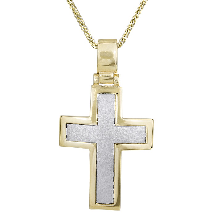 Βαπτιστικοί Σταυροί με Αλυσίδα Δίχρωμος σταυρός με αλυσίδα Κ14 ματ 029684C 029684C Ανδρικό Χρυσός 14 Καράτια