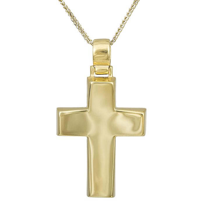 Βαπτιστικοί Σταυροί με Αλυσίδα Αντρικός σταυρός Κ14 χρυσός με αλυσίδα 029685C 029685C Ανδρικό Χρυσός 14 Καράτια