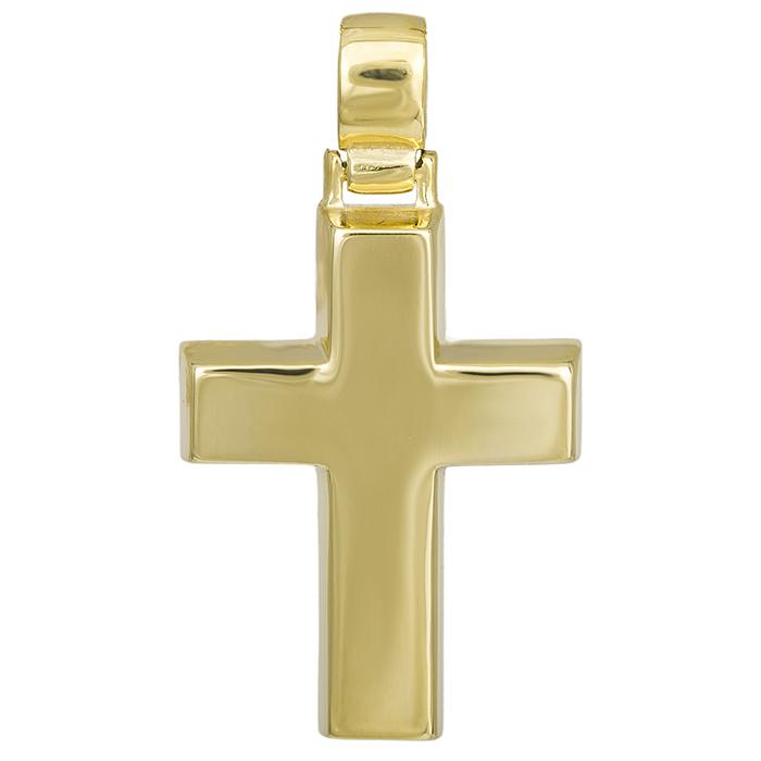 Σταυροί Βάπτισης - Αρραβώνα Αντρικός σταυρός Κ14 χρυσός πλακέ 029686 029686 Ανδρικό Χρυσός 14 Καράτια