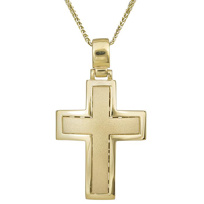 Βαπτιστικοί Σταυροί με Αλυσίδα Χρυσός αντρικός σταυρός Κ14 ματ με αλυσίδα 029690C 029690C Ανδρικό Χρυσός 14 Καράτια
