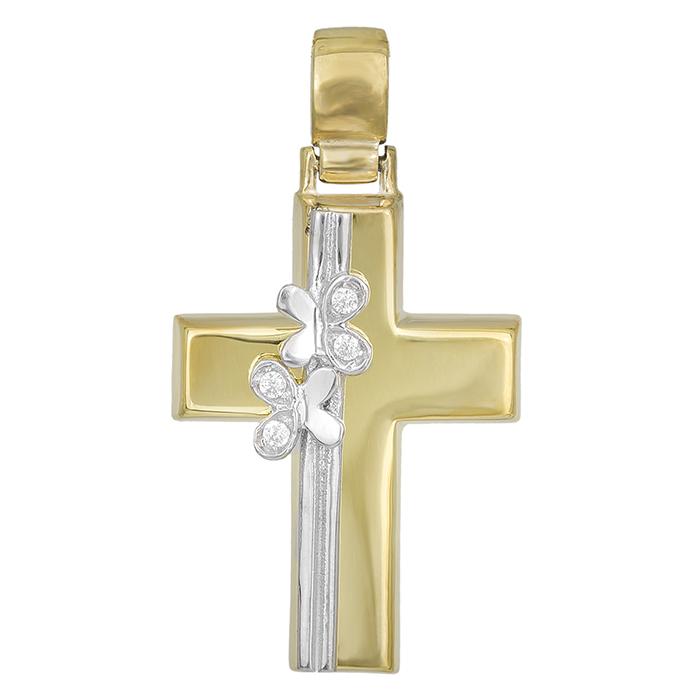Σταυροί Βάπτισης - Αρραβώνα Δίχρωμος σταυρός Κ14 με λουλούδια 029694 029694 Γυναικείο Χρυσός 14 Καράτια