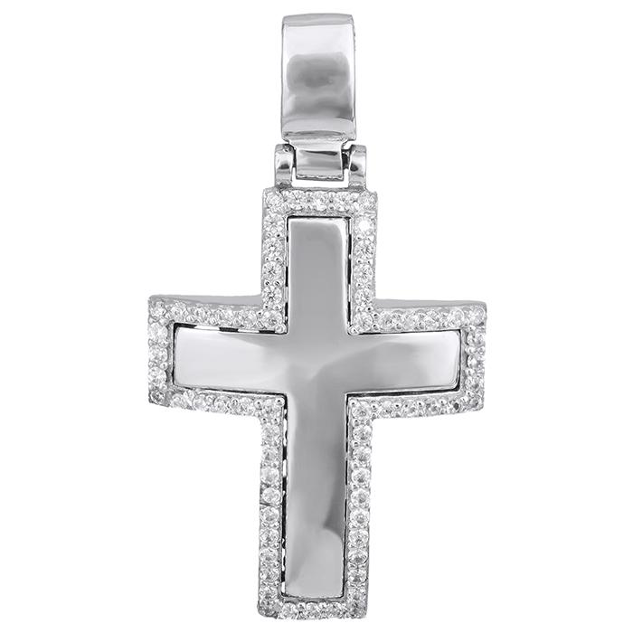 Σταυροί Βάπτισης - Αρραβώνα Λευκόχρυσος σταυρός Κ14 με ζιργκόν πέτρες 0296960 029696 Γυναικείο Χρυσός 14 Καράτια