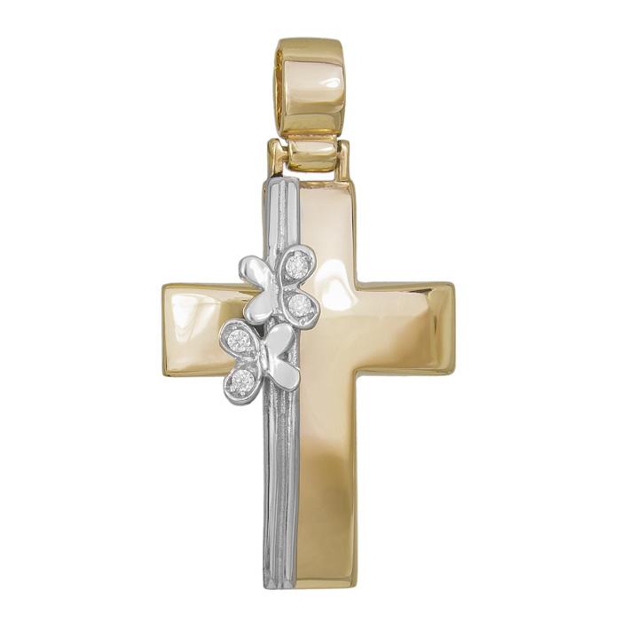 Σταυροί Βάπτισης - Αρραβώνα Δίχρωμος σταυρός Κ14 με λουλούδια 029700 029700 Γυναικείο Χρυσός 14 Καράτια
