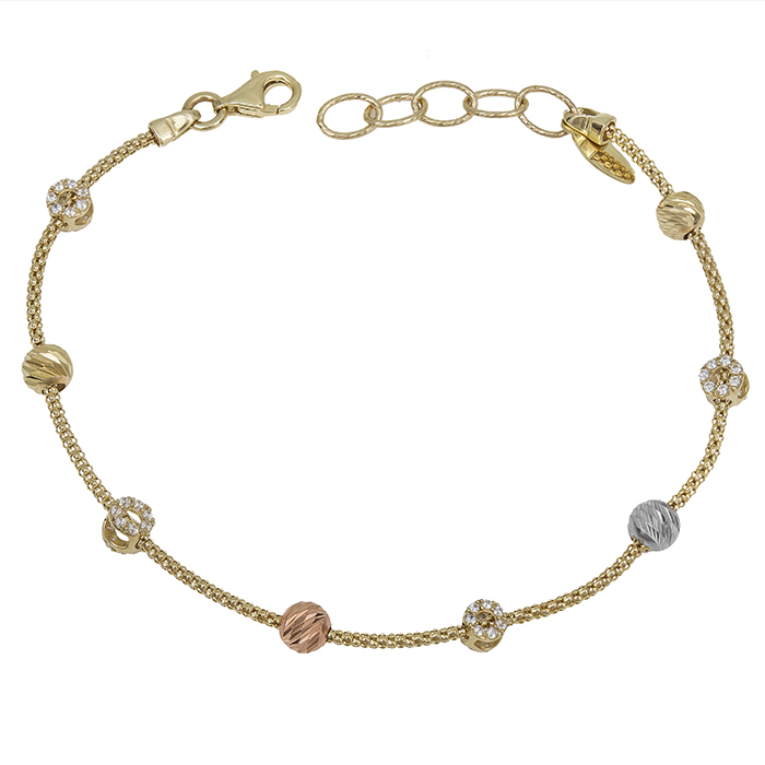 Γυναικείο βραχιόλι Κ14 τρίχρωμο με πέτρες 029713 029713 Χρυσός 14 Καράτια