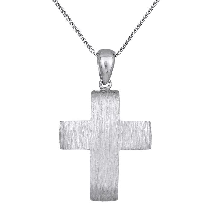 Βαπτιστικοί Σταυροί με Αλυσίδα Λευκόχρυσος σταυρός Κ14 με αλυσίδα ανάγλυφος 029797C 029797C Ανδρικό Χρυσός 14 Καράτια