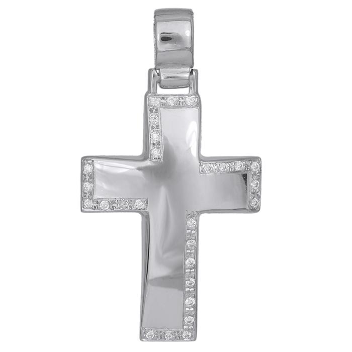 Σταυροί Βάπτισης - Αρραβώνα Λευκόχρυσος σταυρός Κ14 με ζιργκόν 029825 029825 Γυναικείο Χρυσός 14 Καράτια