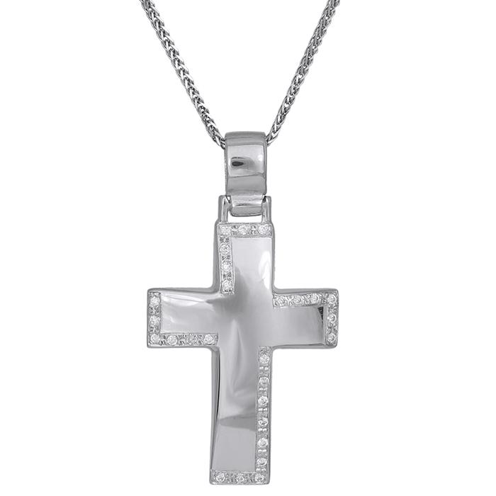 Βαπτιστικοί Σταυροί με Αλυσίδα Γυναικείος σταυρός με αλυσίδα Κ14 λευκόχρυσος με ζιργκόν πέτρες 029825C 029825C Γυναικείο Χρυσός 14 Καράτια