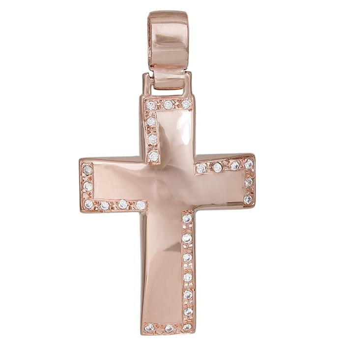 Σταυροί Βάπτισης - Αρραβώνα Ροζ gold σταυρός Κ14 με ζιργκόν πέτρες 029826 029826 Γυναικείο Χρυσός 14 Καράτια
