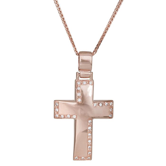 Βαπτιστικοί Σταυροί με Αλυσίδα Βαπτιστικός σταυρός με αλυσίδα Κ14 ροζ gold με ζιργκόν 029826C 029826C Γυναικείο Χρυσός 14 Καράτια