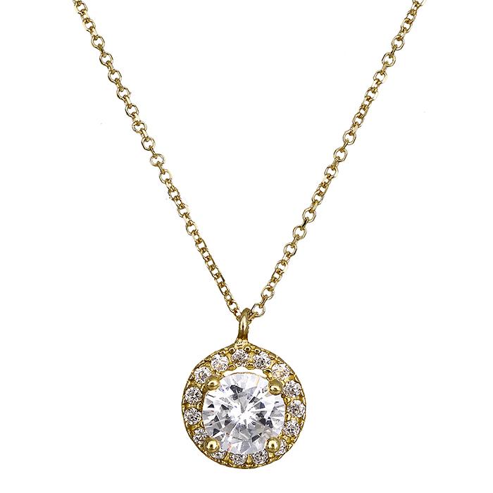 Γυναικείο κολιέ με πέτρες 018095 018095 Χρυσός 14 Καράτια