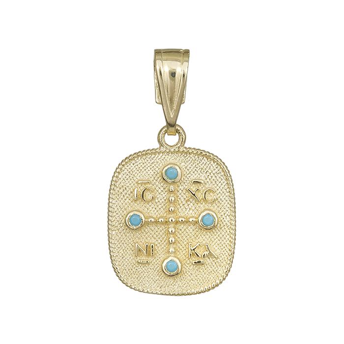 Χρυσό φυλακτό Κ14 με τυρκουάζ πέτρες 029869 029869 Χρυσός 14 Καράτια