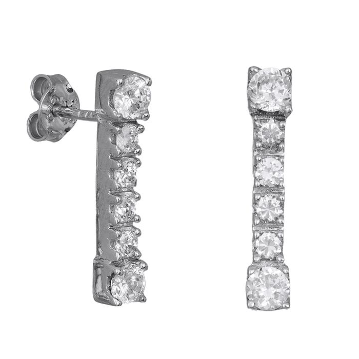 Γυναικεία σκουλαρίκια Κ9 με λευκές πέτρες ζιργκόν 029931 029931 Χρυσός 9 Καράτια