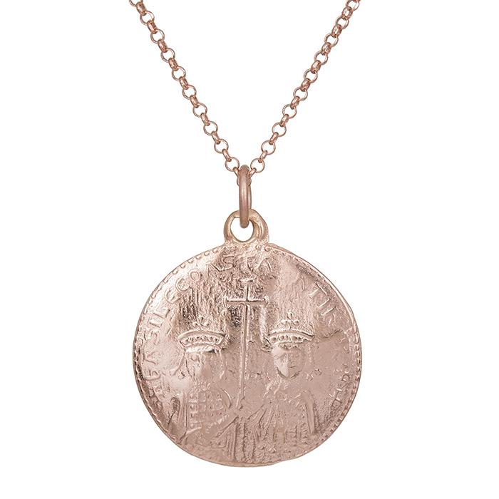 Ροζ επίχρυσο κωνσταντινάτο 925 διπλής όψης 029960 029960 Ασήμι