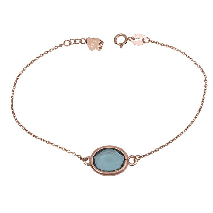 Ροζ επίχρυσο βραχιόλι 925 με μπλε πέτρα 029970 029970 Ασήμι