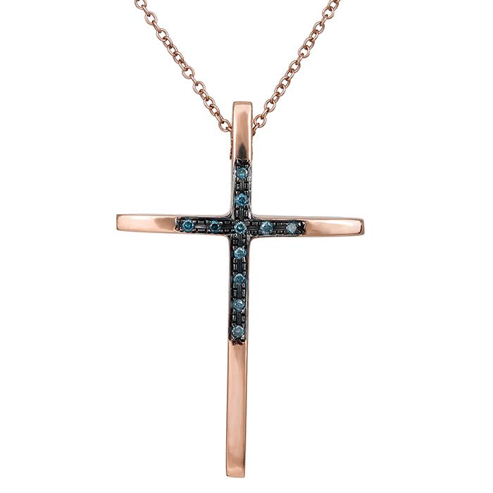 Ροζ gold σταυρός με μπλε διαμάντια Κ18 029982 029982 Χρυσός 18 Καράτια