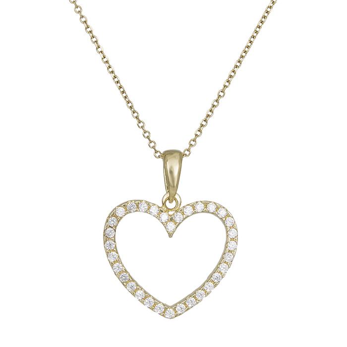 Γυναικείο κολιέ Κ14 με ολόπετρη καρδιά 029997 029997 Χρυσός 14 Καράτια