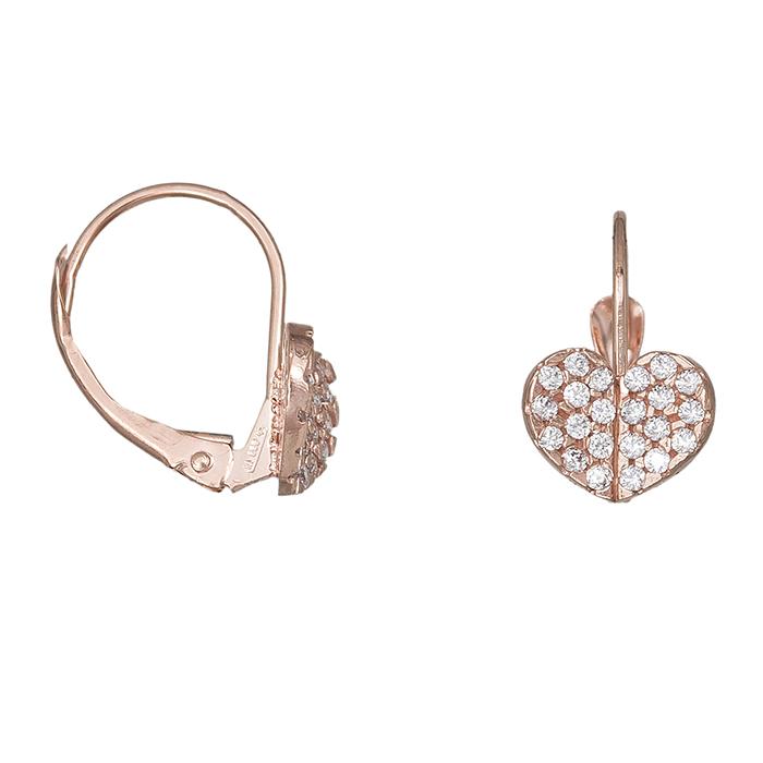 Γυναικεία σκουλαρίκια Κ14 ροζ gold με πετράτες καρδούλες 030000 030000 Χρυσός 14 Καράτια