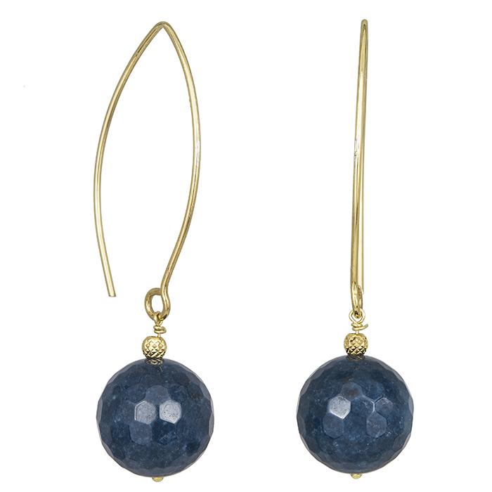 Γυναικεία επίχρυσα σκουλαρίκια 925 με πετρόλ πέτρα 030018 030018 Ασήμι