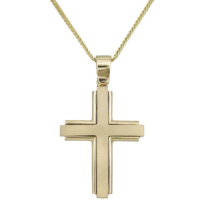 Βαπτιστικοί Σταυροί με Αλυσίδα Ανδρικός ματ σταυρός Κ18 με αλυσίδα 030024C 030024C Ανδρικό Χρυσός 18 Καράτια