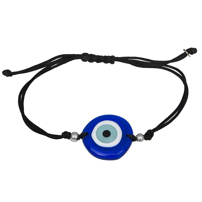 Ασημένιο βραχιόλι 925 μακραμέ με μπλε ματάκι 030045 030045 Ασήμι