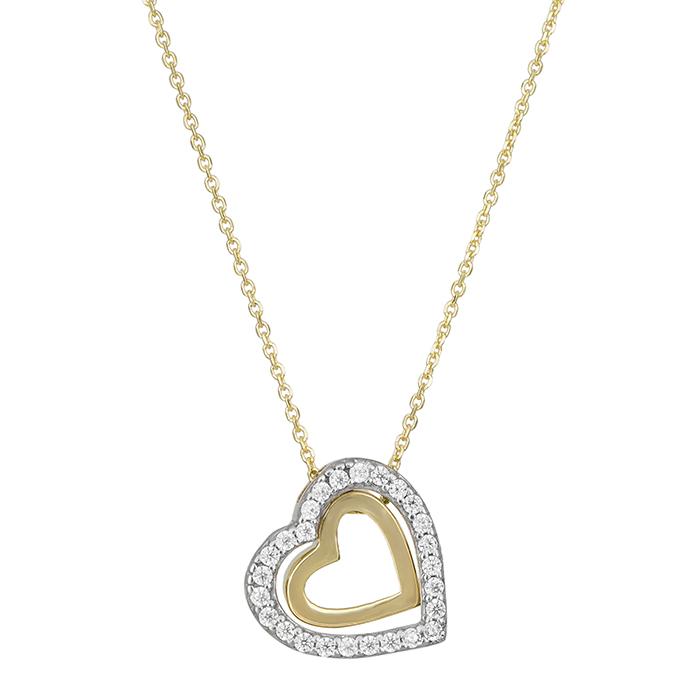 Γυναικείο κολιέ Κ9 διπλή καρδιά με ζιργκόν 030196 030196 Χρυσός 9 Καράτια