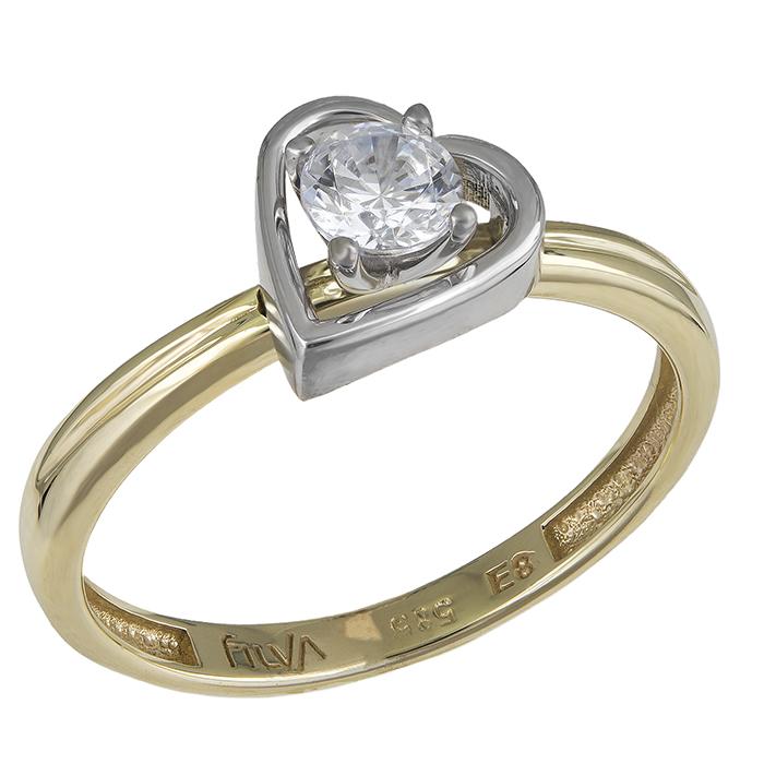 Δίχρωμο δαχτυλίδι Κ14 καρδιά 030216 030216 Χρυσός 14 Καράτια