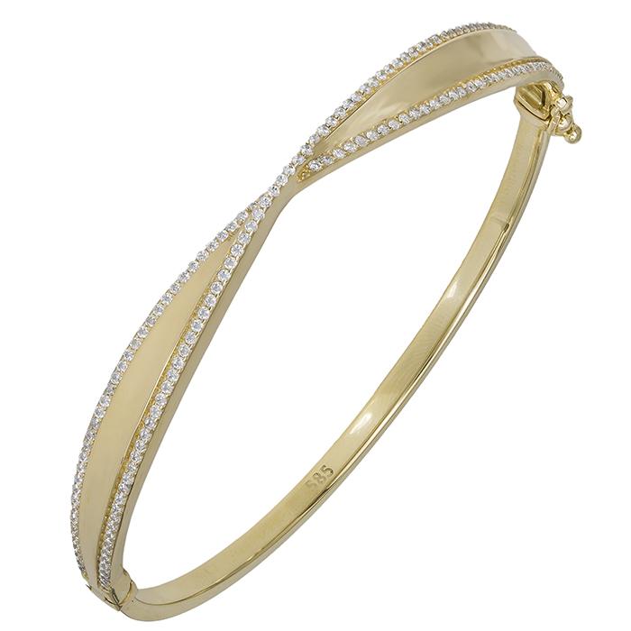 Χειροποίητο βραχιόλι Κ14 χειροπέδα με ζιργκόν 030327 030327 Χρυσός 14 Καράτια