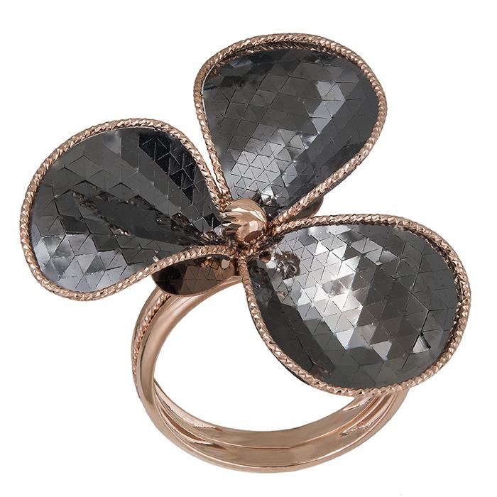 Ροζ gold δαχτυλίδι Κ14 μαύρο λουλούδι 030378 030378 Χρυσός 14 Καράτια