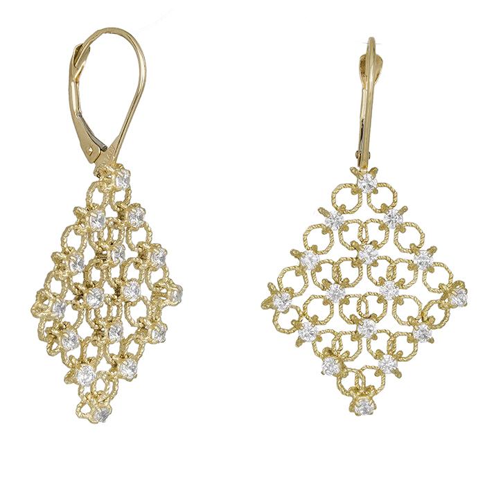 Χρυσά σκουλαρίκια Κ14 ρόμβοι 030386 030386 Χρυσός 14 Καράτια