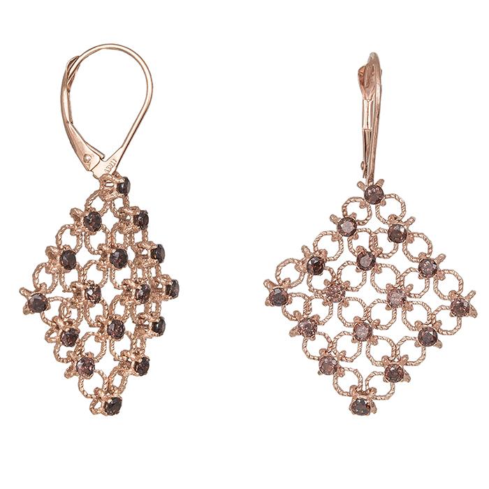 Σκουλαρίκια ροζ gold Κ14 ρόμβοι 030397 030397 Χρυσός 14 Καράτια