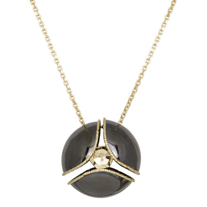 Κολιέ χρυσό Κ14 μαύρη μπίλια 030401 030401 Χρυσός 14 Καράτια
