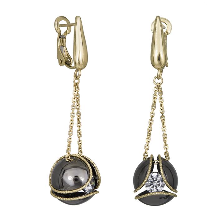 Κρεμαστά σκουλαρίκια Κ14 με μαύρη μπίλια 030402 030402 Χρυσός 14 Καράτια