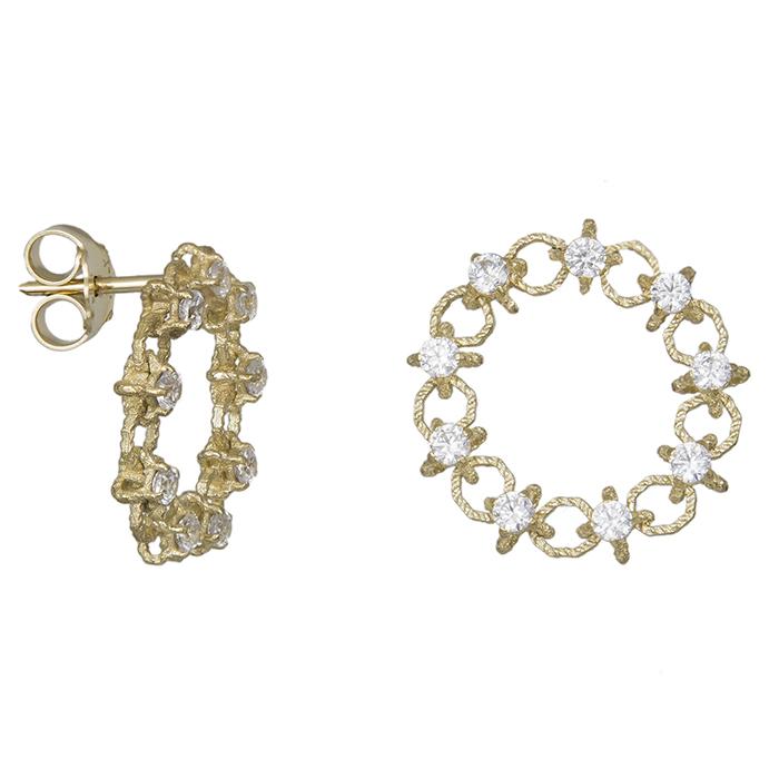 Σκουλαρίκια χρυσά Κ14 πλεκτά με πέτρες ζιργκόν 030404 030404 Χρυσός 14 Καράτια
