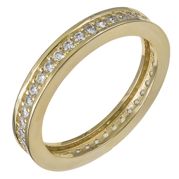 Χρυσό δαχτυλίδι Κ14 ολόβερο με ζιργκόν 030463 030463 Χρυσός 14 Καράτια