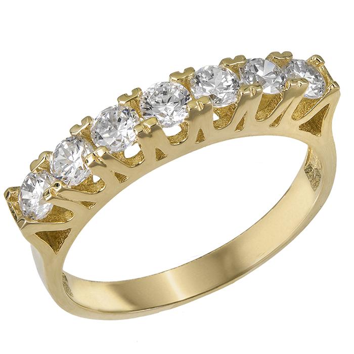 Σειρέ δαχτυλίδι Κ14 με λευκές πέτρες ζιργκόν 030472 030472 Χρυσός 14 Καράτια