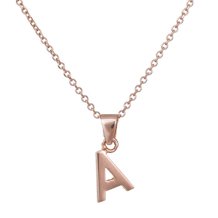 Κολιέ Κ14 μονόγραμμα Α ροζ gold 030520 030520 Χρυσός 14 Καράτια
