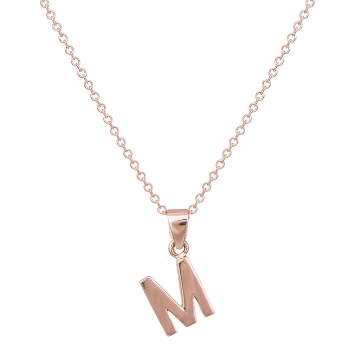 Γυναικείο κολιέ Κ14 ροζ gold μονόγραμμα Μ 030530 030530 Χρυσός 14 Καράτια