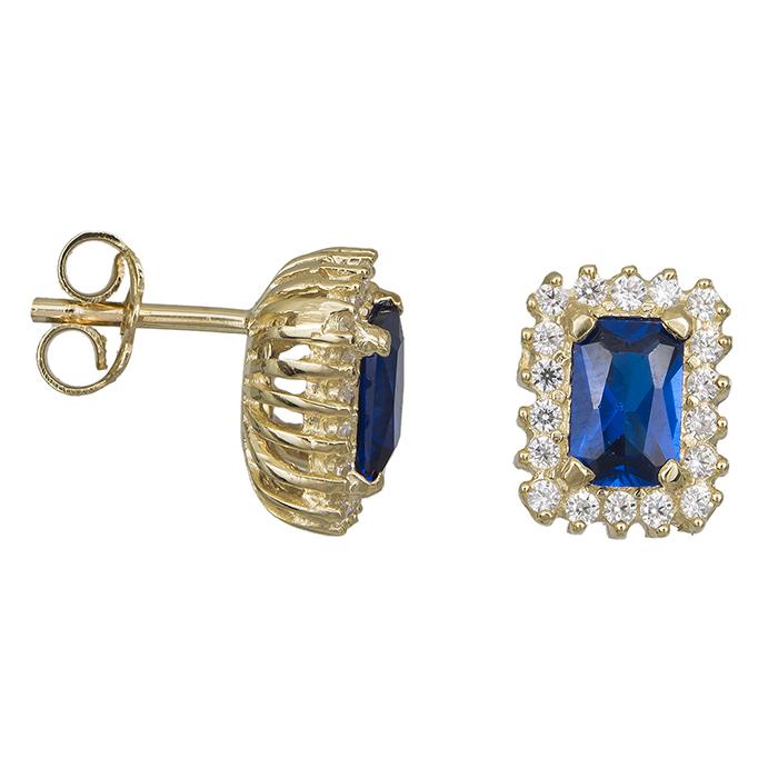 Χρυσά σκουλαρίκια Κ14 με μπλε πέτρα 030749 030749 Χρυσός 14 Καράτια