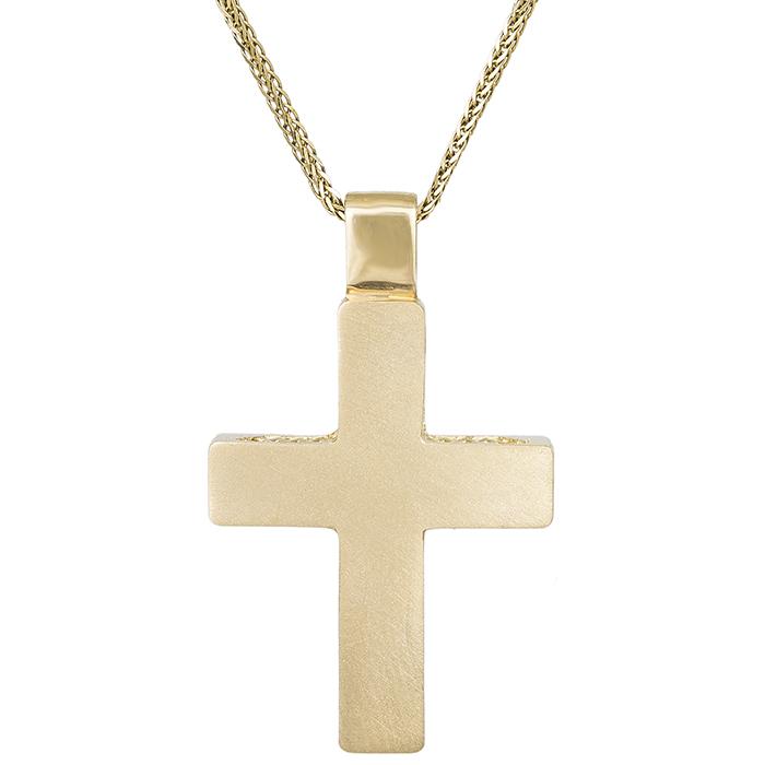 Βαπτιστικοί Σταυροί με Αλυσίδα Ανδρικός σταυρός Κ14 ματ με αλυσίδα 030766C 030766C Ανδρικό Χρυσός 14 Καράτια