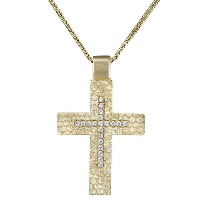Βαπτιστικοί Σταυροί με Αλυσίδα Βαπτιστικός σταυρός για κορίτσι Κ14 διπλής  όψης με αλυσίδα 030773C 030773C Γυναικείο c07d9028660