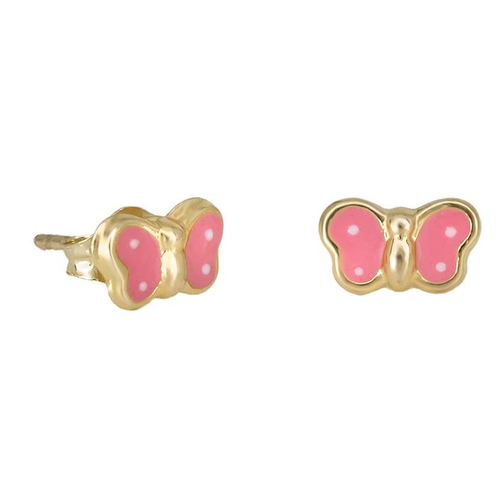 Χρυσά σκουλαρίκια Κ14 ροζ πεταλούδες 030794 030794 Χρυσός 14 Καράτια