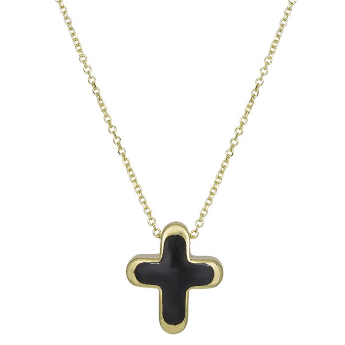 Γυναικείο κολιέ Κ14 χρυσό με μαύρο σταυρουδάκι 030863 030863 Χρυσός 14 Καράτια
