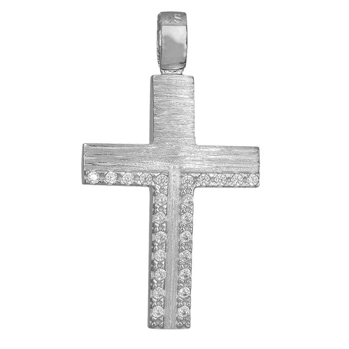 Σταυροί Βάπτισης - Αρραβώνα Λευκόχρυσος ματ σταυρός Κ14 με ζ. 51d0e994916